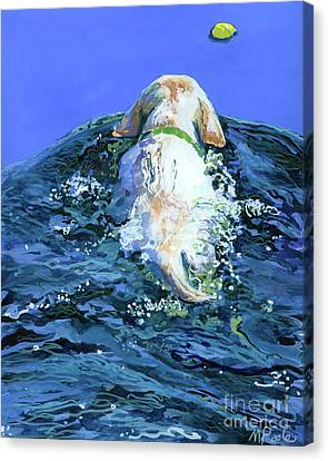 Yellow Lab  Blue Wake Canvas Print by Molly Poole