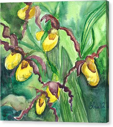 Yellow Ladies Slippers Canvas Print by Christina Plichta