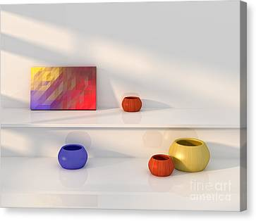 Yellow Red Blue Vase Still Life. Canvas Print by Jan Brons