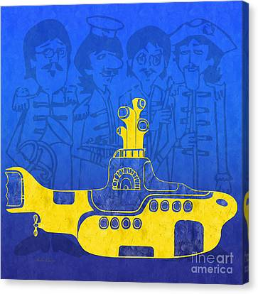 Yellow Submarine Canvas Print by Andee Design