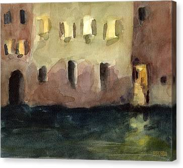 Yellow Windows At Night Watercolor Painting Of Venice Italy Canvas Print by Beverly Brown
