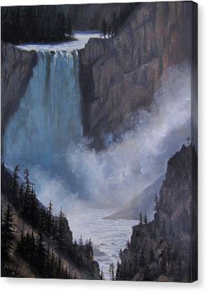 Yellowstone Falls Evening Canvas Print by Mar Evers