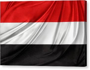 Yemen Flag Canvas Print by Les Cunliffe
