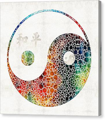 Yin And Yang - Colorful Peace - By Sharon Cummings Canvas Print by Sharon Cummings