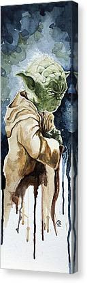 Star Canvas Print featuring the painting Yoda by David Kraig