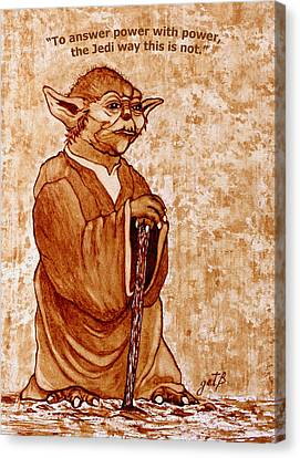 Yoda Wisdom Original Coffee Painting Canvas Print by Georgeta Blanaru