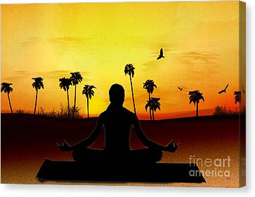 Yoga At Sunrise Canvas Print by Bedros Awak