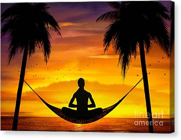 Yoga At Sunset Canvas Print by Bedros Awak