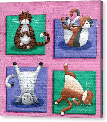 Yoga For Cats Canvas Print by Peter Adderley