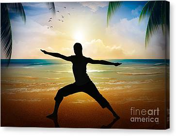 Yoga On Beach Canvas Print by Bedros Awak