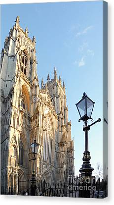 York Minster With Lampost Canvas Print by Neil Finnemore