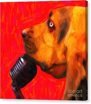 You Ain't Nothing But A Hound Dog - Red - Painterly Canvas Print by Wingsdomain Art and Photography