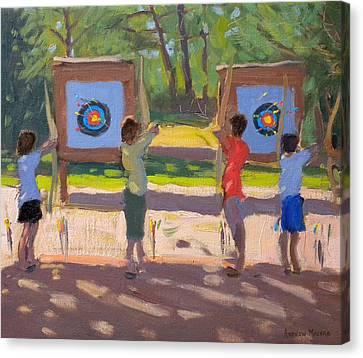 Young Archers Canvas Print by Andrew Macara