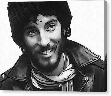 Young Bruce Springsteen Canvas Print by Dan Sproul