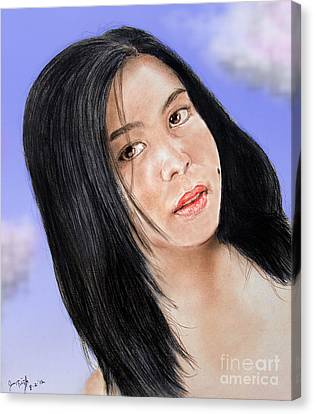 Young Filipina Beauty With A Mole Model Kaye Anne Toribio  Altered Version Canvas Print by Jim Fitzpatrick
