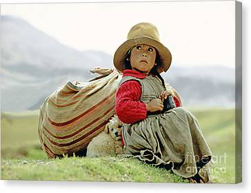 Young Girl In Peru Canvas Print by  Victor Englebert