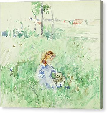 Young Girl Seated On The Lawn Canvas Print by Berthe Morisot