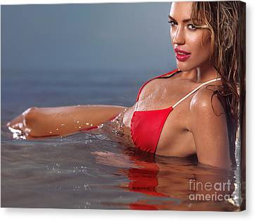 Young Glamorous Woman In Red Bikini Lying In Water Canvas Print by Oleksiy Maksymenko