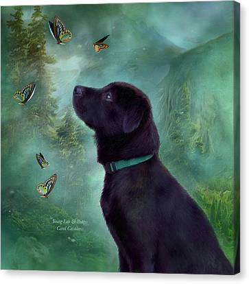 Young Lab And Buttys Canvas Print by Carol Cavalaris