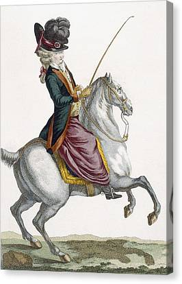 Young Lady Riding A Horse, Engraved Canvas Print by Pierre Thomas Le Clerc