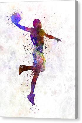 Young Man Basketball Player One Hand Slam Dunk Canvas Print by Pablo Romero