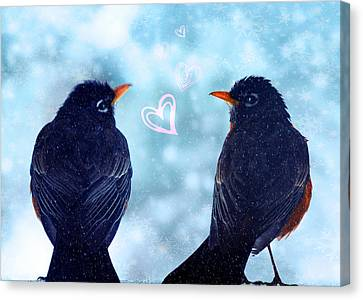 Young Robins In Love Canvas Print by Lisa Knechtel