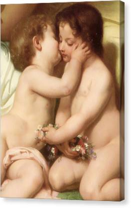 Young Woman Contemplating Two Embracing Children Detail II Canvas Print by William Bouguereau