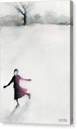 Young Woman Ice Skating Watercolor Painting Canvas Print by Beverly Brown Prints