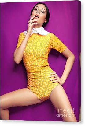Young Woman In Bright Yellow Vintage Style Clothes Canvas Print by Oleksiy Maksymenko