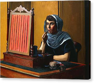 Young Woman Putting On Lipstick Canvas Print by Felix Edouard Vallotton