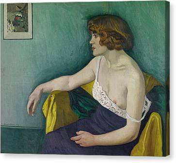 Young Woman Seated In Profile Canvas Print by Felix Edouard Vallotton