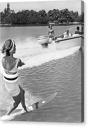 Young Woman Slalom Water Skis Canvas Print by Underwood Archives