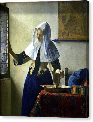 Young Woman With A Water Pitcher Canvas Print by Johannes Vermeer
