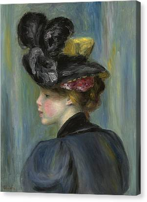 Young Woman With Black Hat Canvas Print by Pierre Auguste Renoir