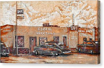 Young's Corral - Holbrook Az - Route 66 - The Mother Road Canvas Print by Christine Till