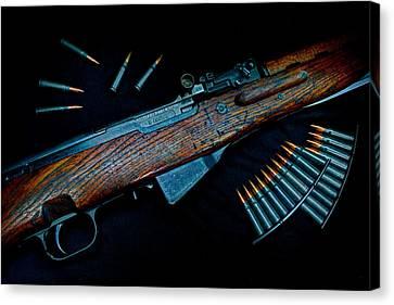 Yugoslavian Sks Rifle With Stripper Clips Canvas Print by Geoffrey Coelho