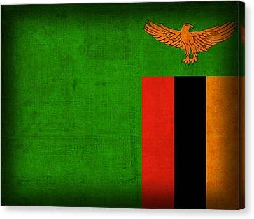 Zambia Flag Distressed Vintage Finish Canvas Print by Design Turnpike
