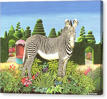 Zebra In A Garden Canvas Print by Anthony Southcombe