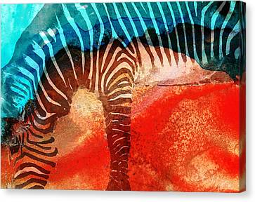 Zebra Love - Art By Sharon Cummings Canvas Print by Sharon Cummings