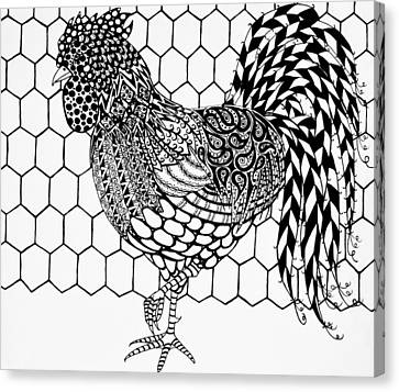 Zentangle Rooster Canvas Print by Jani Freimann