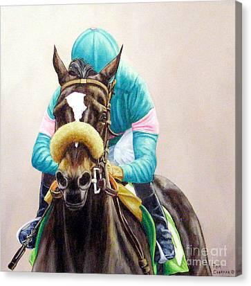 Zenyatta Winning The Vanity Handicap Canvas Print by Tom Chapman