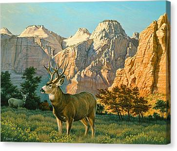 Zioncountry Muleys Canvas Print by Paul Krapf