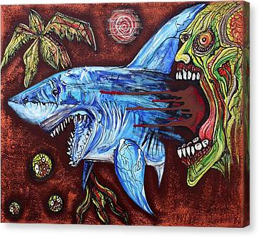 Zombie Eats Shark Canvas Print by Laura Barbosa
