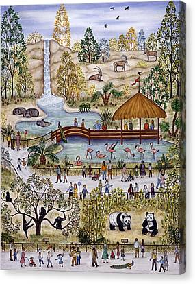 Zoo Diptych Part One Canvas Print by Linda Mears