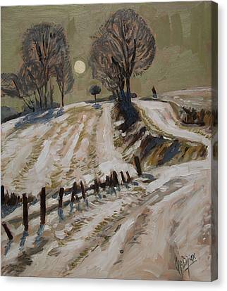 Zuid Limburg First Snow And Full Moon Canvas Print by Nop Briex
