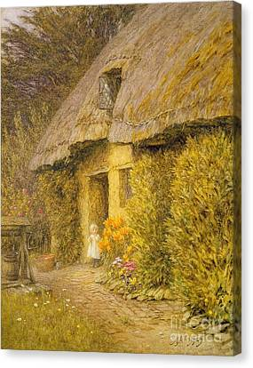 A Child At The Doorway Of A Thatched Cottage  Canvas Print by Helen Allingham