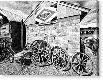 Antique Wagon Wheels Canvas Print by James Steele