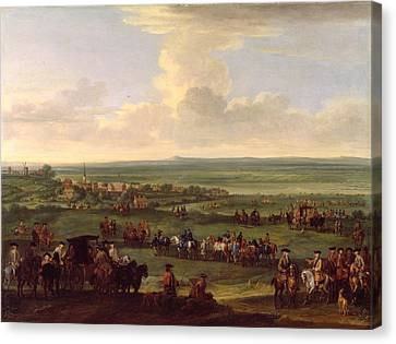 George I - At Newmarket Canvas Print by John Wootton