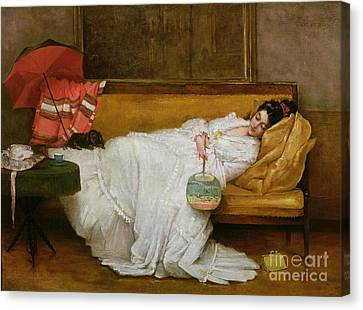 Girl In A White Dress Resting On A Sofa Canvas Print by Alfred Emile Stevens