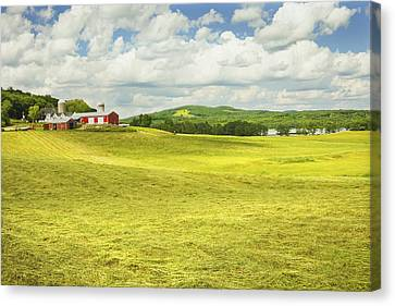 Hay Harvesting In Field Outside Red Barn Maine Canvas Print by Keith Webber Jr